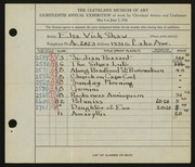 Entry card for Shaw, Elsa Vick for the 1936 May Show.