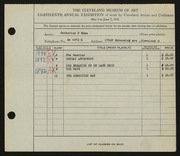 Entry card for Shea, Catherine C. for the 1936 May Show.