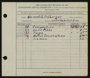 Entry card for Silberger, Manuel G. for the 1936 May Show.