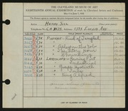 Entry card for Sill, Henry for the 1936 May Show.