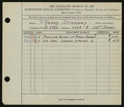 Entry card for Stickney, F. Henry for the 1936 May Show.