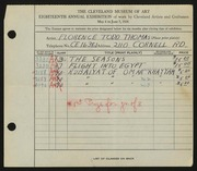 Entry card for Thomas, Florence Todd for the 1936 May Show.