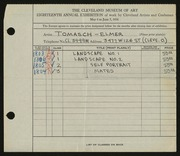 Entry card for Tomasch, E. J. (Elmer John) for the 1936 May Show.