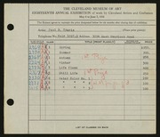 Entry card for Travis, Paul Bough for the 1936 May Show.