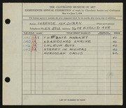 Entry card for Duren, Terence R. for the 1936 May Show.