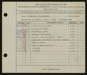 Entry card for Wagner, Elberta M. for the 1936 May Show.