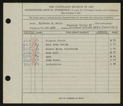 Entry card for Waltz, Olivette K. for the 1936 May Show.