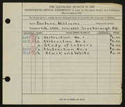 Entry card for Williams, Barbara for the 1936 May Show.