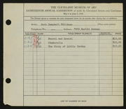 Entry card for Williams, Ruth Campbell for the 1936 May Show.
