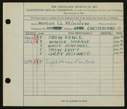 Entry card for Winslow, Morton G. for the 1936 May Show.