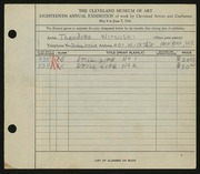 Entry card for Witonski, Theodore J. for the 1936 May Show.