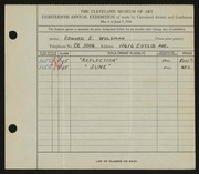 Entry card for Woldman, Edward E. for the 1936 May Show.