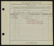 Entry card for Wright, Mrs. R. Toland, and Myers, B. C.; Schnupp, Charles; Towns, L. Stanley  for the 1936 May Show.