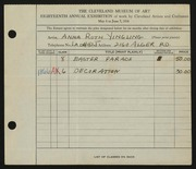 Entry card for Yingling, Anna Ruth for the 1936 May Show.