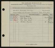 Entry card for Young, Alys Roysher for the 1936 May Show.
