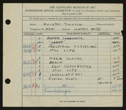 Entry card for Young, Jay Quinter for the 1936 May Show.