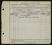 Entry card for Abbott, Wendell H. for the 1937 May Show.