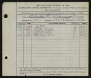 Entry card for Ackerman, Charles W. for the 1937 May Show.