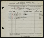 Entry card for Adomeit, George G. for the 1937 May Show.