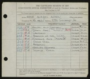 Entry card for Aitken, Irene Anabel for the 1937 May Show.