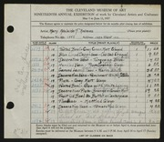 Entry card for Andrews, Mary Adelaide Fulton for the 1937 May Show.