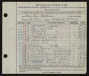 Entry card for Ashdown, Ray Jay for the 1937 May Show.