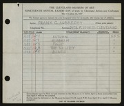 Entry card for Aubrecht, Frank C. for the 1937 May Show.