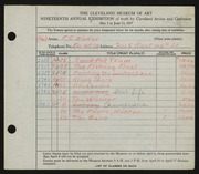 Entry card for Baker, F. C. for the 1937 May Show.