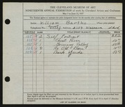 Entry card for Bartko, William for the 1937 May Show.
