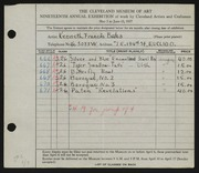 Entry card for Bates, Kenneth F. for the 1937 May Show.