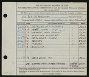 Entry card for Beckwith, Ada Bell for the 1937 May Show.