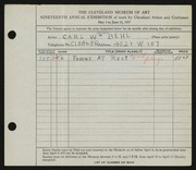 Entry card for Behl, Carl William for the 1937 May Show.