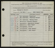 Entry card for Bennett, George Edward for the 1937 May Show.