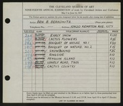 Entry card for Berkowitz, Benjamin B. for the 1937 May Show.