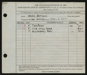 Entry card for Bethune, Marie for the 1937 May Show.