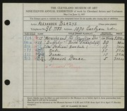 Entry card for Blazys, Alexander for the 1937 May Show.