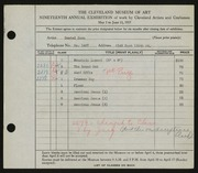 Entry card for Boza, Daniel for the 1937 May Show.