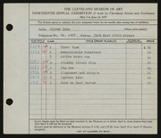 Entry card for Boza, Oliver for the 1937 May Show.