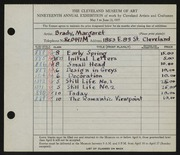 Entry card for Brady, Margaret L. for the 1937 May Show.