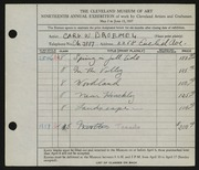 Entry card for Broemel, Carl William for the 1937 May Show.