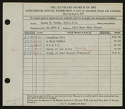Entry card for Brown, Zenas H. for the 1937 May Show.
