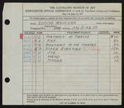 Entry card for Brucker, Edmund for the 1937 May Show.