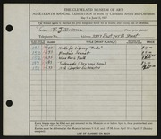 Entry card for Bucholz, Robert John for the 1937 May Show.