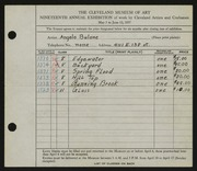 Entry card for Bulone, Angelo for the 1937 May Show.