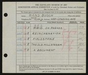 Entry card for Busch, Hans for the 1937 May Show.