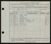 Entry card for Buscher, Alice E. for the 1937 May Show.