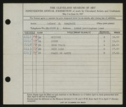 Entry card for Campbell, Leland E. for the 1937 May Show.