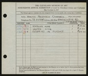 Entry card for Campbell, Marion Macdonald for the 1937 May Show.