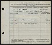 Entry card for Cannell, Joseph for the 1937 May Show.