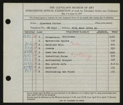 Entry card for Carter, Clarence Holbrook for the 1937 May Show.